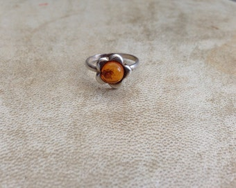 Baltic Amber Flower Ring