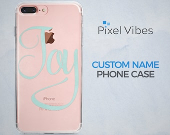 Custom iPhone Case, Personalized Name Phone Case, Cursive Script Text Clear Cover for iPhone Samsung Galaxy, Perfect Birthday Gift for Her