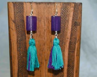 Purple and Teal Tassel Earring with Purple Bead
