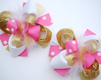 boutique MINI mod PINK and GOLD set of 2 hair bow clips