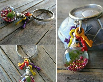 Cladophora and Java Moss TerrariRing™ - Live plant Ring - Colorful Key Ring - Sterling Silver size 6