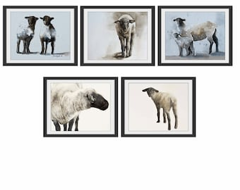 for her mom gift sheep art print of lamb Nursery art print girl watercolor painting lamb print lamb sheep print twin animal YOU PICK PRINTS
