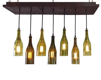 Wine Bottle Light - 7 Recycled Wine Bottles, Rustic Chandelier, Kitchen lighting
