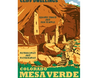 MESA VERDE Colorado 1S- Handmade Leather Journal / Sketchbook - Travel Art