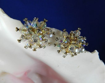 Vintage Silver White AB Round Crystal and Amber Crystal Sputnik Clip Earrings with End Crystals: Sputik Ears