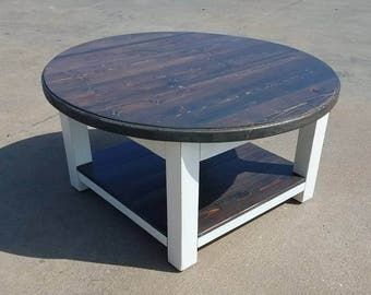 Round Farmhouse Coffee Table With Dark Walnut Stained Top And Lower Shelf    Reclaimed Wood Coffee
