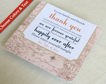 Vintage Map Wedding Reception Thank You Card - Destination Travel - Custom Colors - Custom Wording