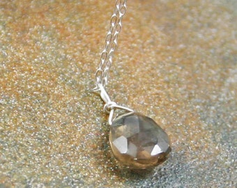 Smokey Quartz Briolette Necklace, Gemstone Necklace, Sterling Silver Chain Necklace, Gemstone Briolette Necklace, Under 30