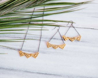 Lace Pyramid Earrings and necklace set in 14k gold plate on oxidized silver chains