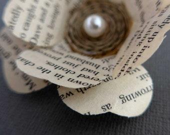 Flower Brooch, Pearl Brooch, Paper Flower Brooch, Cream Flower Corsage, Wedding Corsage, Book Lover Gift, Teacher Gift