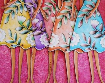 Tropical Boho Printable Paper-dolls full color dresses