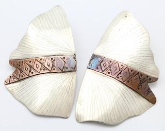 Giant Fairy Wing Earrings Vintage Tribal Style in Sterling Silver w 14K Posts. [7527]