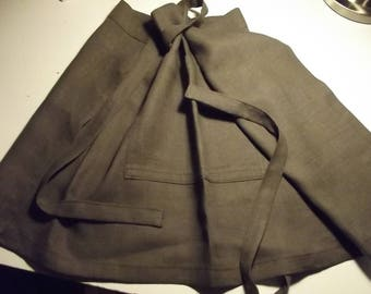Linen apron. Half apron. Khaki linen apron. Khaki half apron. Linen half apron. Kitchen apron. Handmade linen apron.