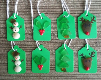 Beach Glass and Shell Christmas Gift Tags - Set of 8