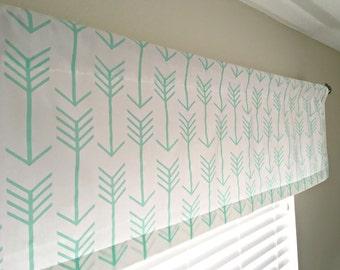 Arrow Curtain Valance - Grey, Ecru, Black, Coral, Mint, Arrows, Choose Your Color