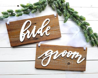 Bride Groom Chair Signs Laser Cut Chair Signs Reclaimed Wood Sign Wedding Chair Signs Rustic Chair Signs white bride groom signs 3D signs