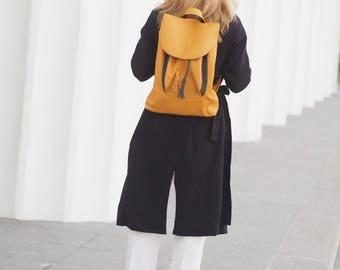 Leather yellow Backpack,  Rucksack women's