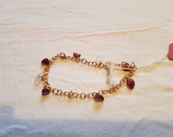 Garnet and Rose Quartz Bracelet.