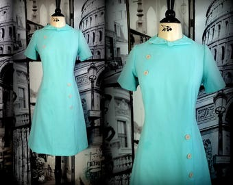 70s Aqua Day Dress - PURITAN FOREVER YOUNG - A-Line Styling - Cute Button Accent & Bow at Neckline - Size Medium