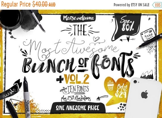 70% OFF Sale Big Bunch of Fonts Vol 2 - hand drawn digital typeface bundle for typography - Brush, script, display