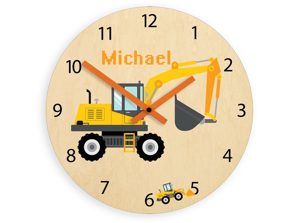 Kids wall clock - Excavator with personalizen name, Wood clock ...