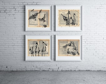 Flying Birds Wall Art, Maps Collectors, Atlas Collectors, Maps Wall Art, Birds Paintings Prints, Map Art, Office Wall Decor, Unique Wall Art