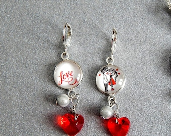 Love earrings, red, love heart
