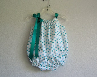 Baby Girls Polka Dot Bubble Romper - White Sun Suit with Aqua & Green Polka Dots - Baby Girl Clothes - Size Newborn, 3m, 6m, 9m, 12m or 18m