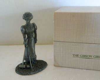 Franklin Mint - The American People Collection - The Gibson Girl - 1974 - Solid Pewter Figurine