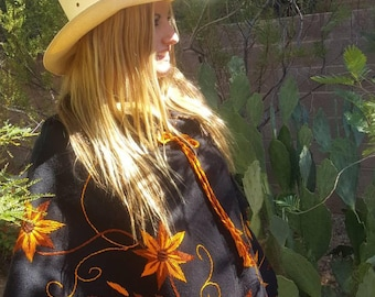 Mexican Lightweight Wool Hand Embroidered Poncho with Orange Silk Embroidery