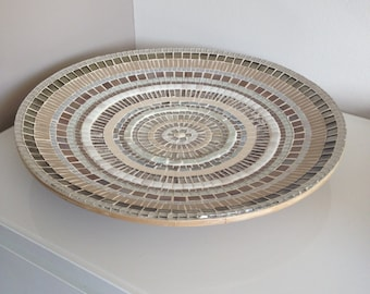 mosaic design bowl,handcrafted mosaic bowl, mosaic art home decoration, glass mosaics bowl creme glass mosaic