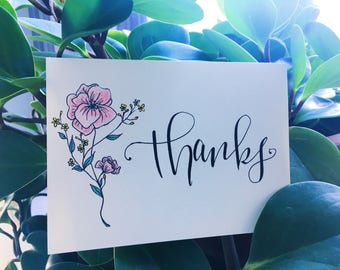 Set of 4 Variety Floral Thank-You Cards