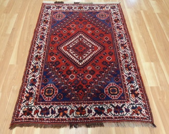 Tribal Boho Decor Vintage Rug Wool Blue Oriental Rug 3' 11 x 5' 8 Shiraz
