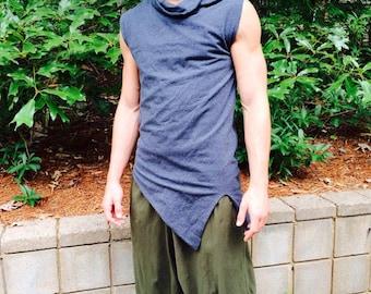 Pointy Top, Men's Tank Top, Men's sleeveless, Larp, Cosplay, Burning Man, Burner Wear, Men's Yoga wear