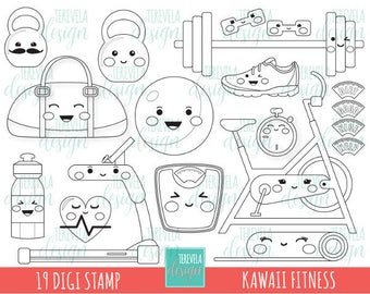 50% sale KAWAII FITNESS digital stamps, excercise digi stamps, commercial use, excercise coloring page, scale, kawaii digital stamp