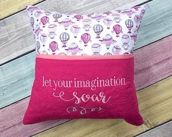 Imagination Soar Hot Air Balloon Book Pillow