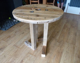 Circular Cable Reel and Reclaimed Timber Dinning / Garden Table