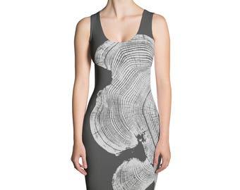 Beautiful Dress, Comfy Dress, tree pattern, tree ring dress, nature dress, natural pattern, LintonArt, gift for her, fitted dress