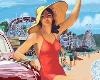 Santa Cruz, California - Woman Waving and Rides (Art Prints available in multiple sizes)