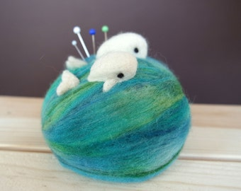 XL Wool Pincushion - Needle Felted Pincushion with Whales - Quilter Pincushion - Needle Felt Whale - Quilter Gift - Gift for Seamstress
