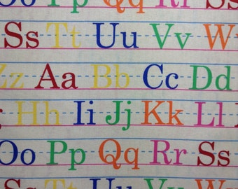 One 15.5 Inch Piece of Fabric Material - Alphabet Letters, Back To School