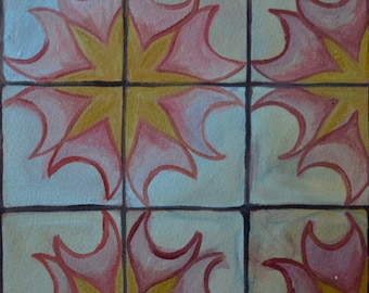Square sundial pattern painting