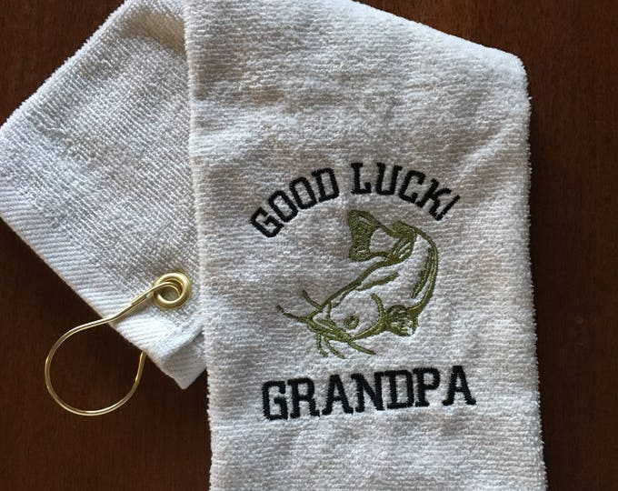 Personalized Fishing Towel, crappie, catfish, trout, bass fishing towel, fishing gift, personalized fishing, custom fishing towel, Fathers