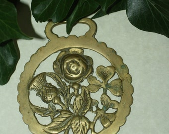 Vintage or Antique Rose, Thistle and Shamrock, Horse Brass  - For Luck - Folk Magic, British, Pagan, Wisdom - Rare