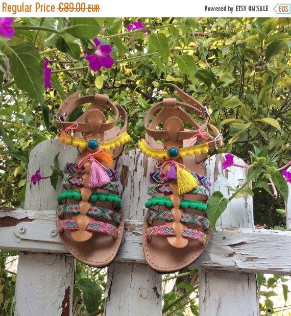 Boho Leather Summer sandals Sandals Gladiator Bohemian Women Sandals Pom sandals Decorated Sandals Pom Greek sandals Boho gift Sandals CC4rwtAxq