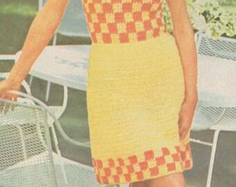 Vintage 1970s Crochet Checkered Sundress Pattern PDF 7509