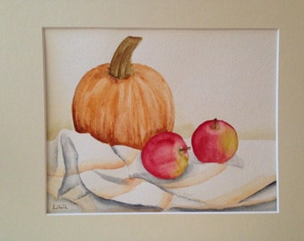 Original watercolor still life painting pumpkin and apples on cloth matted and signed