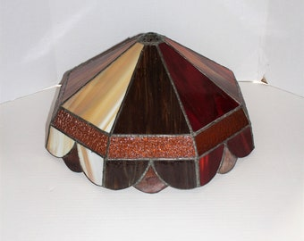 """Vintage Mission Stained Glass Lamp Shade Slag Glass Large 17"""""""