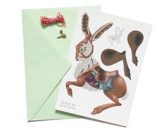 carousel rabbit, paper doll, postcard
