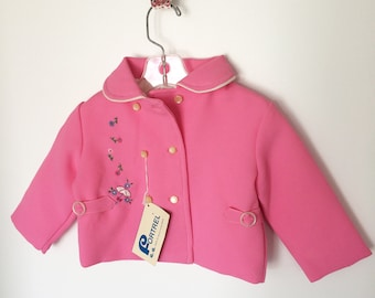 Adorable pink spring jacket with umbrella embroidery for 18m child